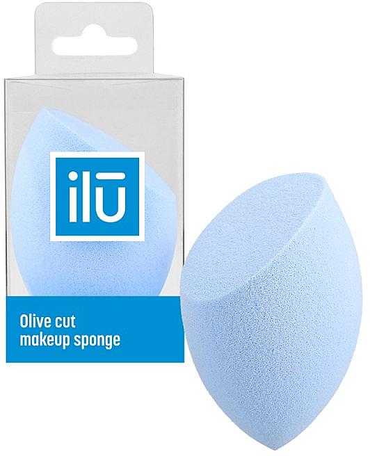 Olive Cut Makeup Sponge, light blue - Ilu Sponge Olive Cut Blue