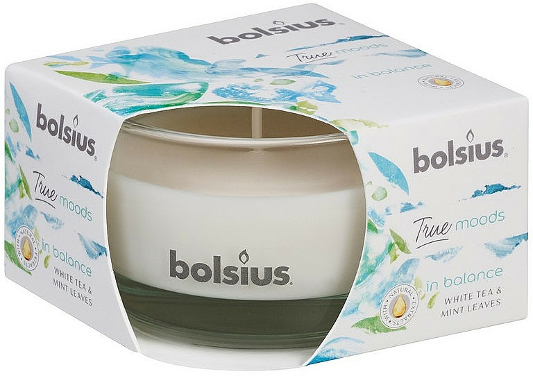 """Scented Candle in Glass """"White Tea and Mint Leaves"""", 50/80 mm - Bolsius True Moods Candle"""