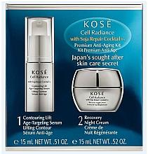 Fragrances, Perfumes, Cosmetics Set - KOSE Soja Repair Cocktail Cell Radiance Premium Anti-Aging Kit (serum/15ml+nihgt/cr/15ml)