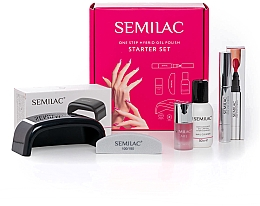 Fragrances, Perfumes, Cosmetics Set - Semilac Starter Set One Step (lamp + n/cl/50ml + n/polish/marker/3ml + n/oil/7ml + n/file/1pc)