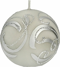 Fragrances, Perfumes, Cosmetics Decorative Candle, ball, gray with ornament, 8 cm - Artman Christmas Ornament