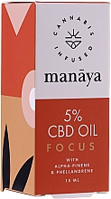 Fragrances, Perfumes, Cosmetics Hemp Oil for Focus and Attention - Manaya 5 % CBD Oil Focus