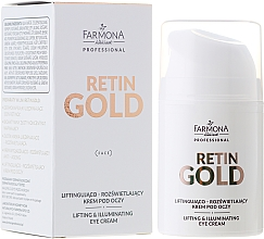Fragrances, Perfumes, Cosmetics Lifting Eye Cream - Farmona Retin Gold Lifting & Illuminating Eye Cream