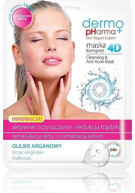 """Face Mask """"Active Treatment and Anti-Acne Effect"""" - Dermo Pharma Skin Repair Expert Cleansing Anti Acne Mask 4D"""