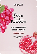 Fragrances, Perfumes, Cosmetics Antioxidant Sheet Mask with Pomegranate and Grape - Oriflame Love Nature