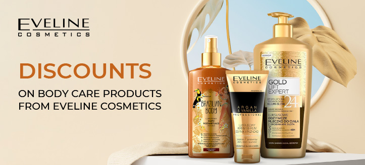 Discounts on body care products from Eveline Cosmetics. Prices on the site already include a discount