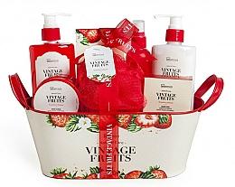 Fragrances, Perfumes, Cosmetics Set - IDC Institute Vintage Fruits (sh/g/250ml+b/lot/250ml+b/scrub/120ml+salt/100g+spray/100ml+soap/100g+sponge+basket)