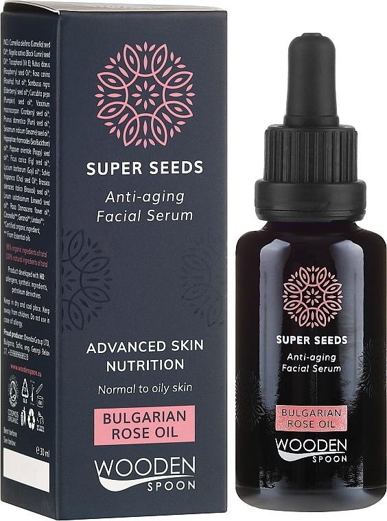 Face Serum - Wooden Spoon Super Seeds Bulgarian Rose Oil Anti-aging Facial Serum