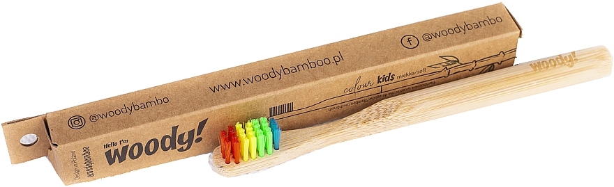 """Kids Bamboo Toothbrush """"Colour"""", multi-colored bristles - WoodyBamboo Bamboo Toothbrush Kids Soft/Medium"""