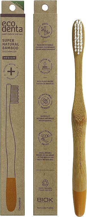Bamboo Medium Toothbrush, orange - Ecodenta Bamboo Toothbrush Medium — photo N1