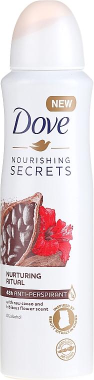 Aerosol Antiperspirant - Dove Nourishing Secrets Cacao & Hibiscus Dry Spray Antiperspirant