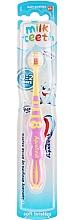 "Fragrances, Perfumes, Cosmetics Kids Toothbrush ""My First Tooth"", pink-yellow - Aquafresh Milk Teeth"