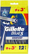 Fragrances, Perfumes, Cosmetics Disposable Shaving Razor Set, 12 pcs - Gillette Blue 3 Comfort