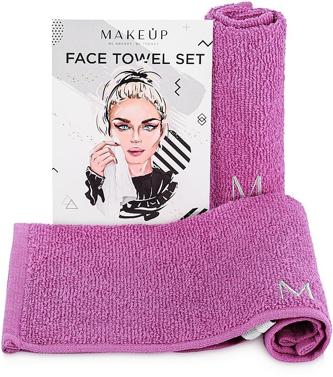 """Travel Facial Towel Set, lilac """"MakeTravel"""" - Makeup Face Towel Set"""