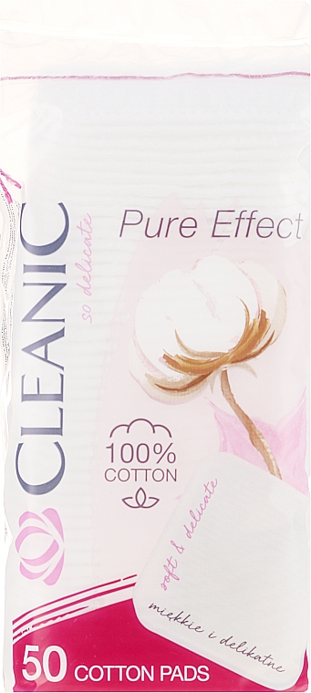 """Cosmetic Cotton Pads """"Pure Effect"""", 50 pcs - Cleanic Face Care Cotton Pads"""