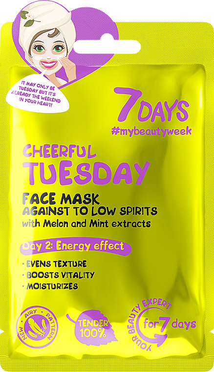 """Face Mask Against To Low Spirits """"Cheerful Tuesday"""" - 7 Days Cheerful Tuesday"""