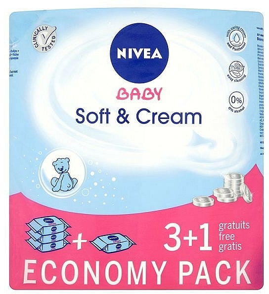 "Wet Wipes ""Baby"" 4x63pcs - Nivea Baby Soft & Cream"