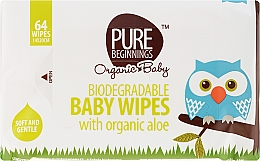 Fragrances, Perfumes, Cosmetics Aloe Wet Wipes, 64 pcs - Pure Beginnings Biodegradable Aloe Baby Wipes