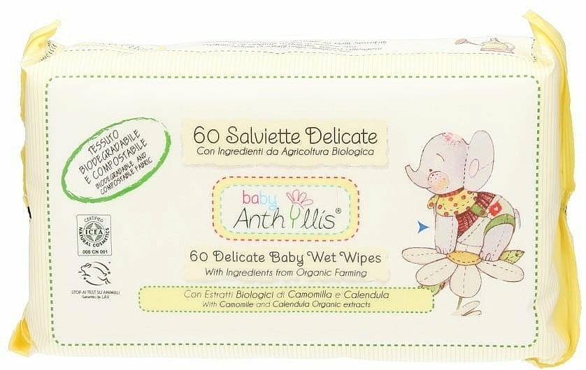 Kids Wet Wipes, 60 pcs. - Anthyllis Cleansing Wipes
