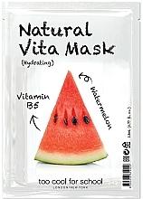"Fragrances, Perfumes, Cosmetics Moisturizing Facial Sheet Mask ""Watermelon"" with Vitamin B5 - Too Cool For School Natural Vita Mask Hydrating"