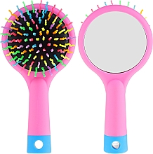 Fragrances, Perfumes, Cosmetics Hair Brush with Mirror, pink - Twish Handy Hair Brush with Mirror Rose Pink