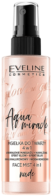 Illuminating Fixing Mist 4 in 1 - Eveline Glow And Go! Aqua Miracle Face Mist 4in1 Nude