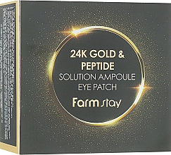 Fragrances, Perfumes, Cosmetics 24K Gold & Peptide Hydrogel Patches - FarmStay 24K Gold And Peptide Solution Ampoule Eye Patch