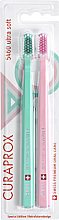 Fragrances, Perfumes, Cosmetics Ultra Soft 5460 Retro Edition Toothbrush Set, mint+pale pink - Curaprox