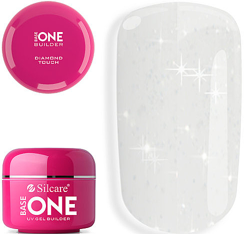 Transparent Nail Gel with Microspangles - Silcare Base One Diamond Touch
