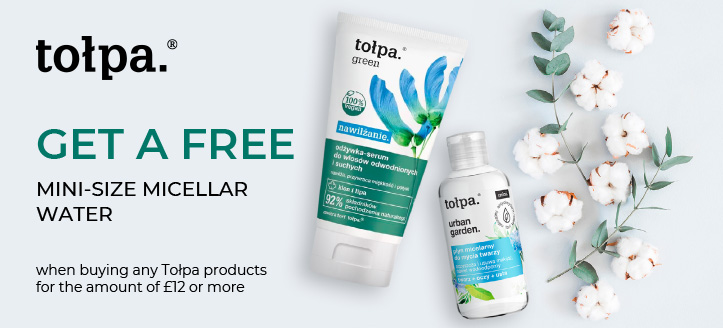 Get a free mini-size micellar water when buying any Tołpa products for the amount of £12 or more