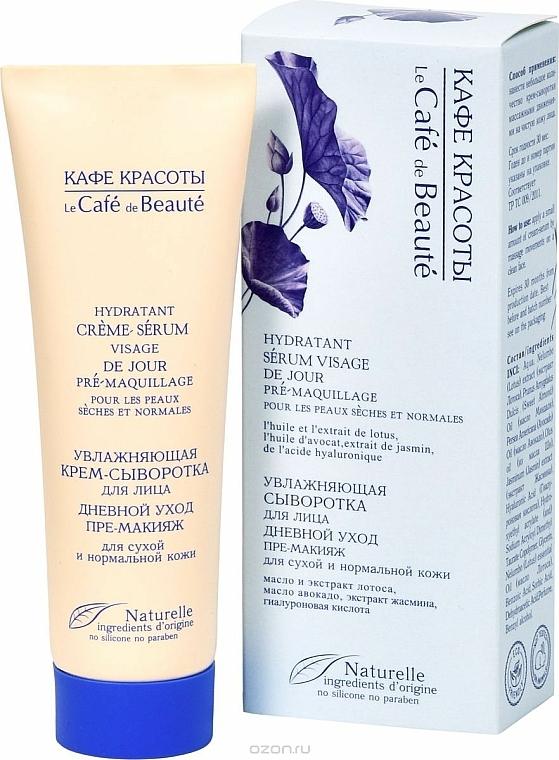 "Dry and Normal Skin Moisturizing Day Care Cream-Serum ""Pre-Makeup"" - Le Cafe de Beaute Cream Serum Visage"