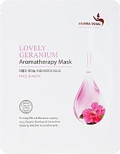 "Fragrances, Perfumes, Cosmetics Face Sheet Mask ""Gentle Geranium"" - Aroma Yong Aromatherapy Mask Lovely Geranium"
