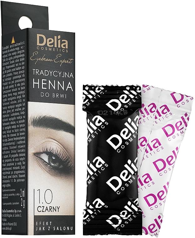 Henna Powder Eyebrow Tint, black - Delia Brow Dye Henna Traditional Black