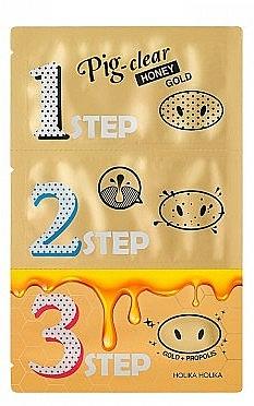 Pore Cleansing Set - Holika Holika Pig Nose Clear Black Head 3-Step Kit Honey Gold