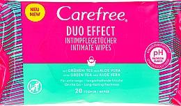 "Fragrances, Perfumes, Cosmetics Intimate Hygiene Wet Wipes ""Aloe"", 20 pcs - Carefree Duo Effect"
