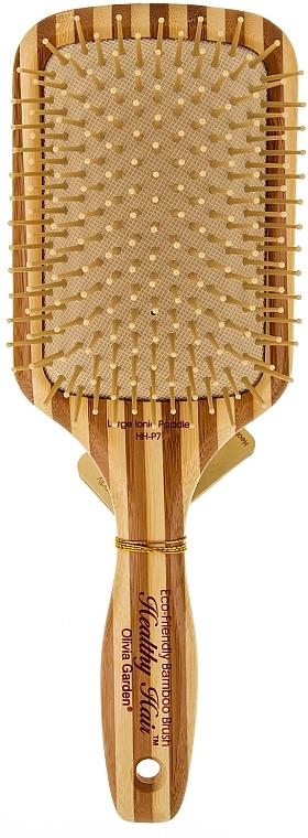 Square Bamboo Brush - Olivia Garden Healthy Hair Rectangular Epoxy Eco-Friendly Bamboo Brush