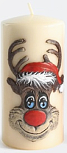 "Fragrances, Perfumes, Cosmetics Decorative Candle ""Rudolf"", creamy, 7x14 cm - Artman Christmas Candle Rudolf"