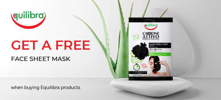 Buy two Equilibra products and get a free Face Sheet Mask