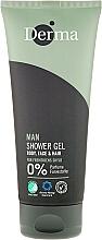 Fragrances, Perfumes, Cosmetics Shower Gel-Shampoo - Derma Man Body Face & Hair Shower Gel