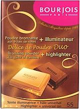 Fragrances, Perfumes, Cosmetics Face Compact Powder - Bourjois Delice De Poudre Bronzing Duo Powder + Highlighter