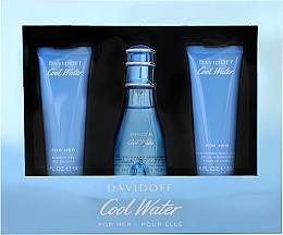 Fragrances, Perfumes, Cosmetics Davidoff Cool Water Woman - Set (edt/50ml + b/lot/50ml + sh/gel/50ml)