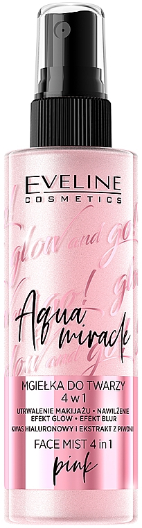 Illuminating Fixing Mist 4 in 1 - Eveline Glow And Go! Aqua Miracle Face Mist 4in1 Pink