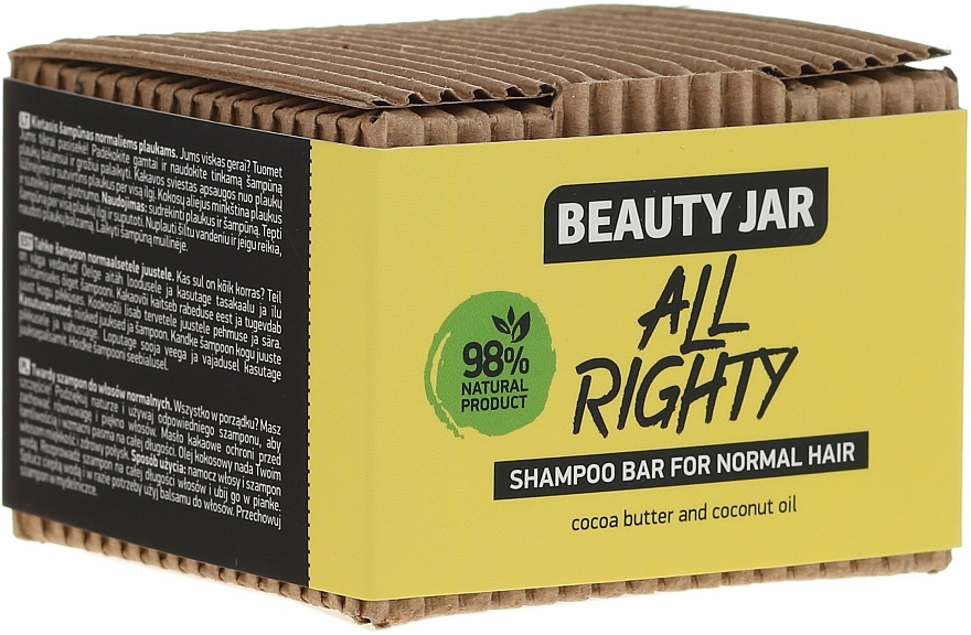Solid Shampoo for Normal Hair with Coconut Oil & Cocoa - Beauty Jar Hair Care All Righty Shampoo