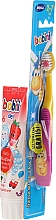 Fragrances, Perfumes, Cosmetics Set with Yellow & Pink Toothbrush - Bobini 2-7 (toothbrush + toothpaste/75ml)