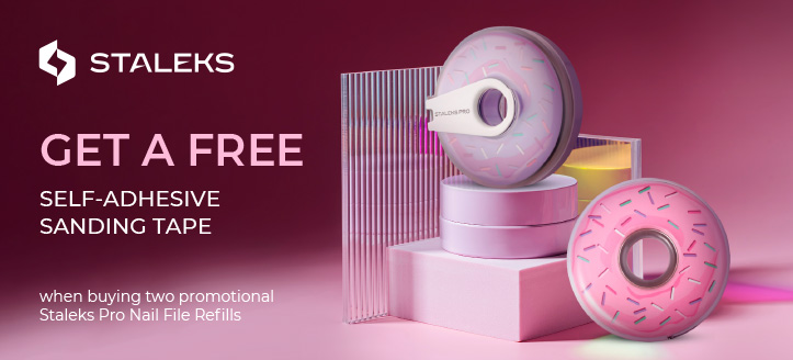 Purchase two promotional Staleks Pro Nail File Refills and get a free Self-Adhesive Sanding Tape to choose from
