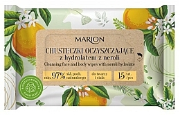 Fragrances, Perfumes, Cosmetics Cleansing Neroli Hydrolat Face & Body Wipes, 15 pcs - Marion