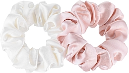 Fragrances, Perfumes, Cosmetics Midi Natural Silk Elastic Hair Band Set - Makeup Scrunchie Set Milk Powder