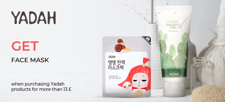Buying Yadah products for more than 13 £, get a Face Mask for free