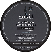 Fragrances, Perfumes, Cosmetics Anti-Pollution Face Mask - Sukin Oil Balancing + Charcoal Anti-Pollution Facial Masque