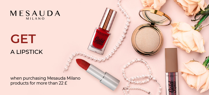 Buying Mesauda Milano products for more than 22 £, get a lipstick for free
